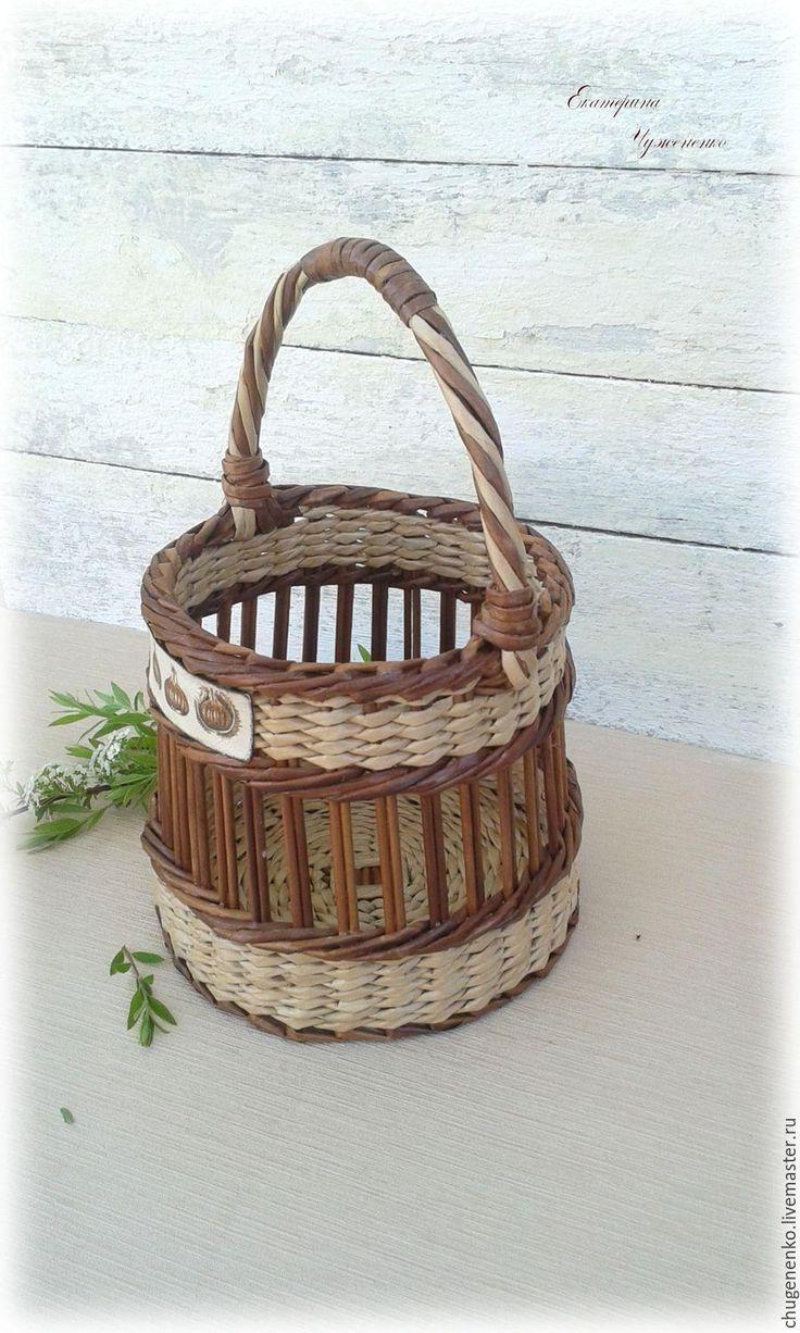 Купить Корзина плетеная Домашняя - комбинированный, плетение, плетение из бумаги, плетеная корзина, корзина