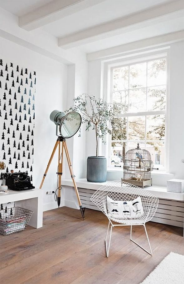 scandinavian interior 4 7 Stylish Scandinavian Interiors. I love the tree print on the wall...definitely inspiring me to do something BIG on the walls of our house!