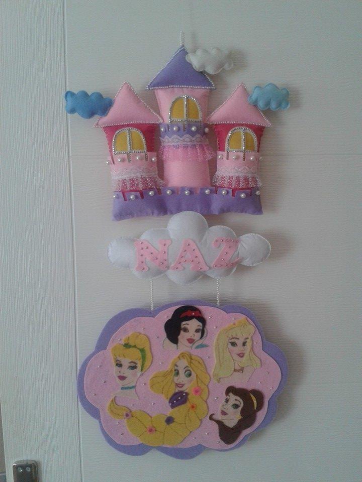 Keçe prensesler şato kapı süsü