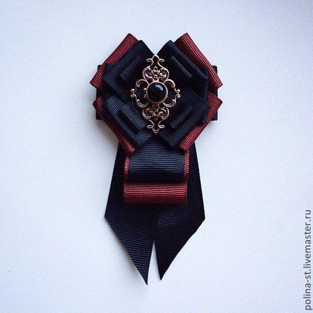 """Брошь-орден с галстучком """"Вечерний"""" - чёрный,бордовый,брошь,брошь-орден"""