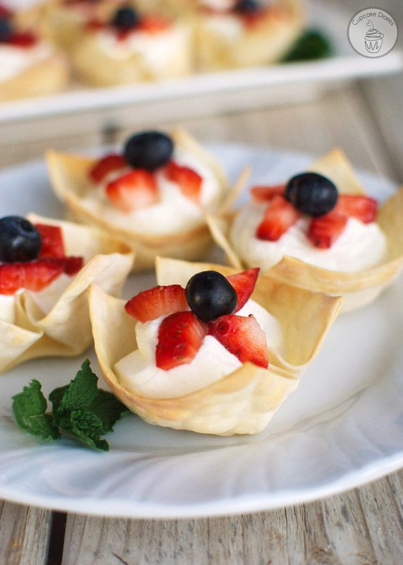 Red, White and Blue Berry Tartlets - This easy no-bake treat is perfect for the 4th of  July! | Cupcake Diaries