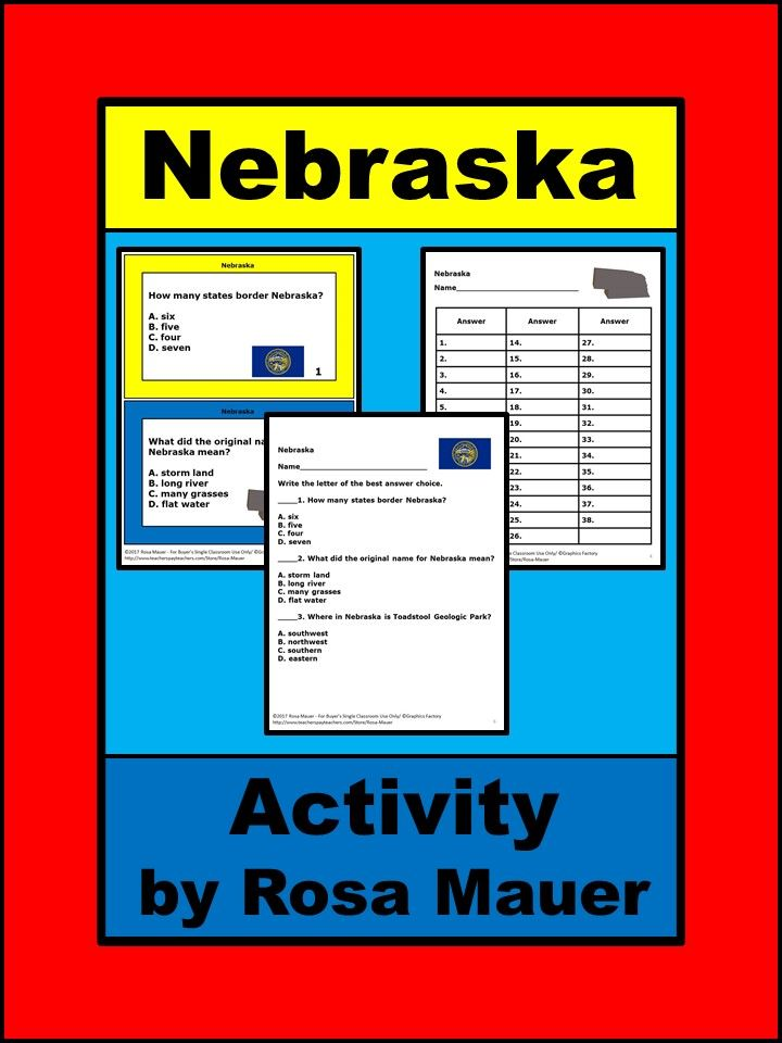 Nebraska USA History and Facts Activities for Kids Study