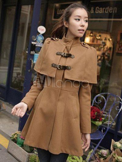 Magnétique manteau de col roulé synthétique marron manches longues