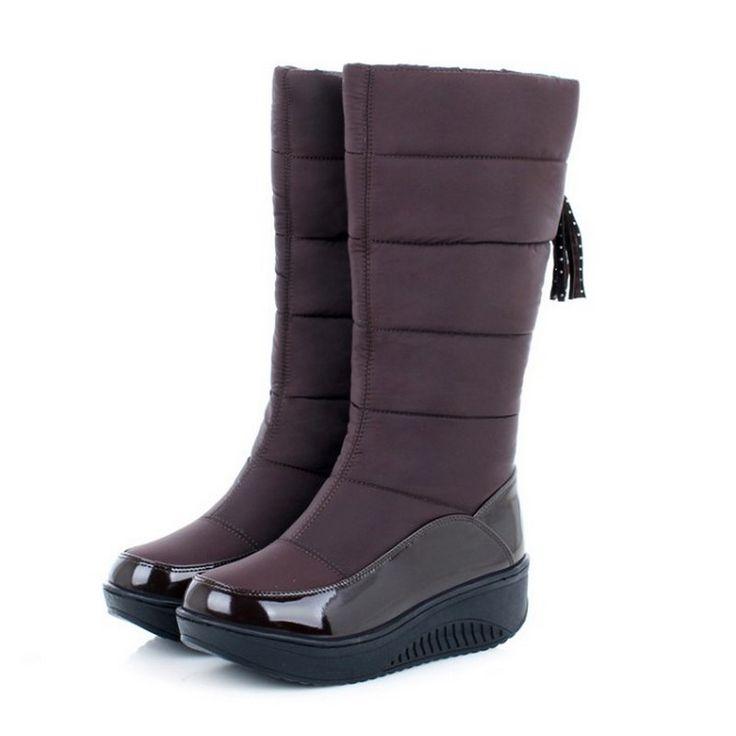 מגפי שלג נשים הגעה חדשה RIBETRINI לשמור על פרווה חמה נעלי מגפי סליפ מקרית רך סתיו חורף נעלי פלטפורמה עבות