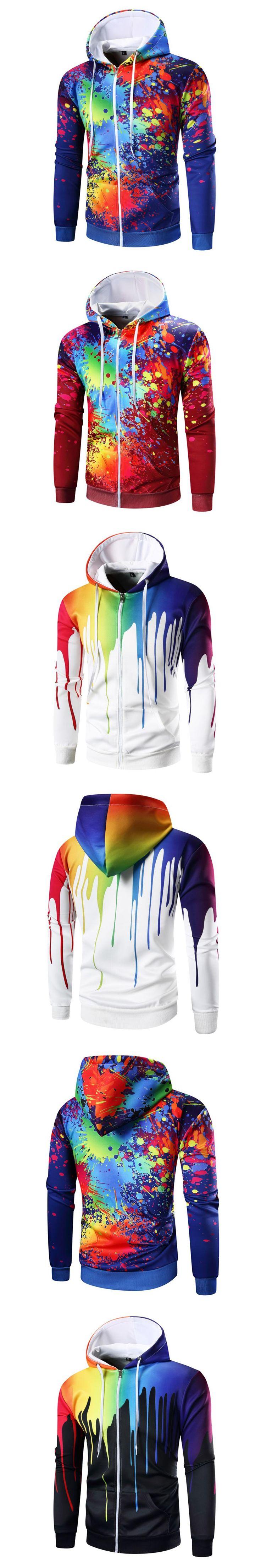 Autumn Hoodies Male Cardigan 2017 New Brand Zipper Sweatshirt Men 3D Printed Design Square Collar Hoodies High Quality Hoodies
