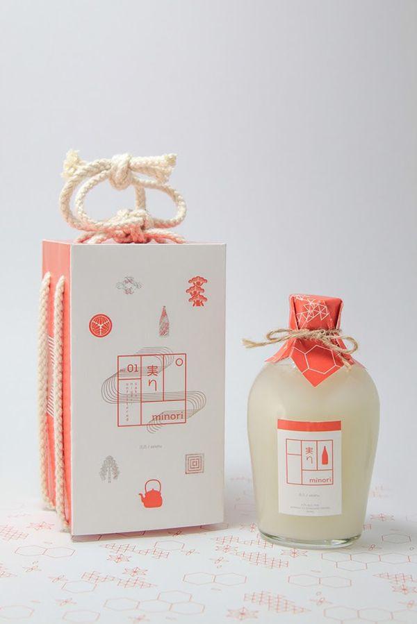 Japanese Minori Sake packaging design — Designspiration