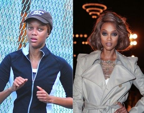 Tyra Banks with and without the makeup