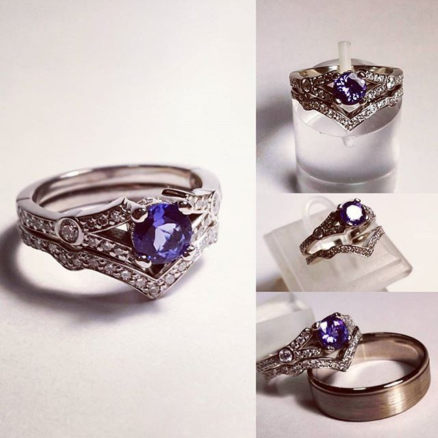 White gold wedding bands. The diamond one is a perfect match to beautiful engagment ring with tanzanite. #goldsmith #jewelryaddict #whitegold #blingbling #eyecatching #exlusive #luxury #timeless #oneofakind #engagementring #perfection #togetherforever #sayyes #thisisit #engagement #yes #gcdesign #accessories #special #fashionjewelry #bling #modern #adorable #accessories #special
