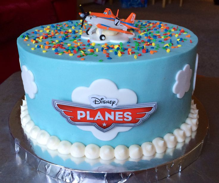 Simple (8 inch round) buttercream cake with a toy Dusty Crophopper as a topper. I even used the little logo that comes with the toy for the front of the cake. The clouds are made of marshmallow fondant.✨✈️ #Disney #Planes