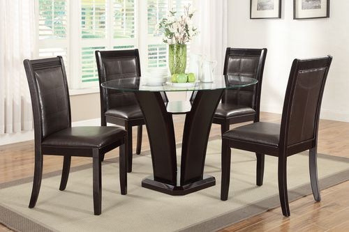 5 PC Poundex Tulip Glass Top Dining Room Table Set F2292