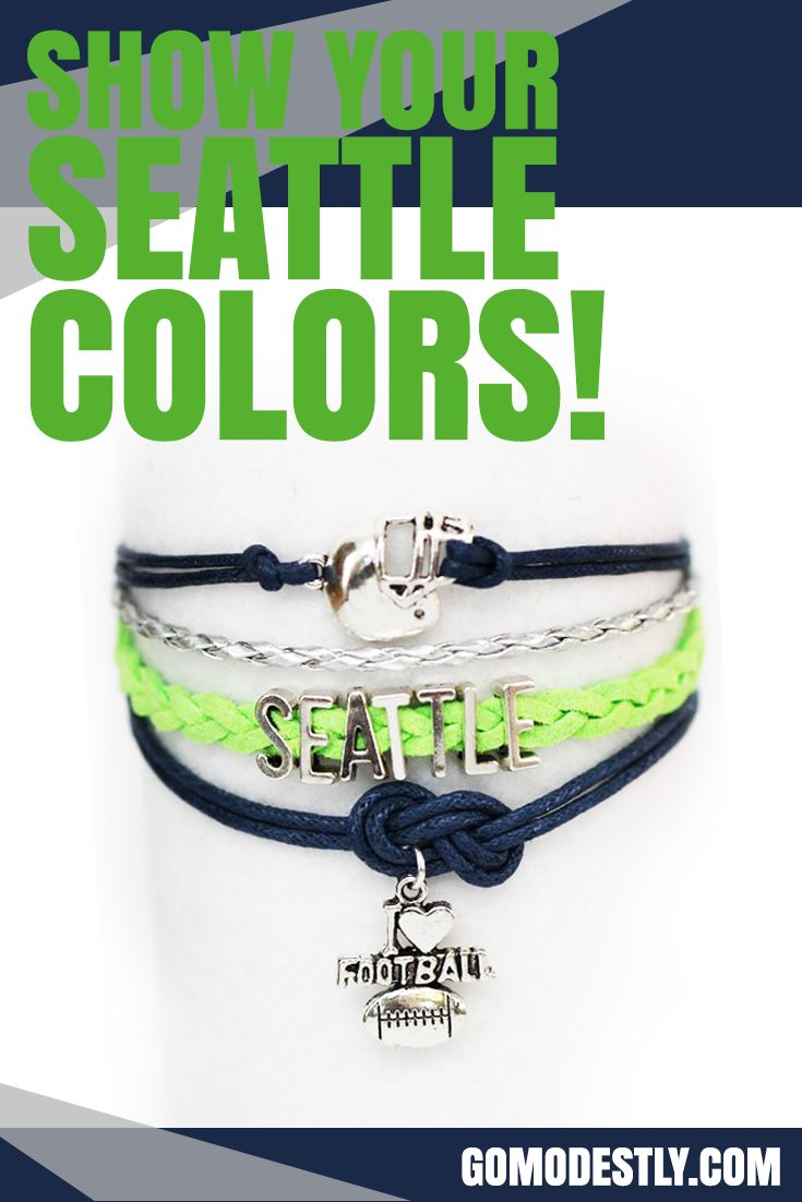 Show your Seattle colors with this Seattle football bracelet, just in time for football season.