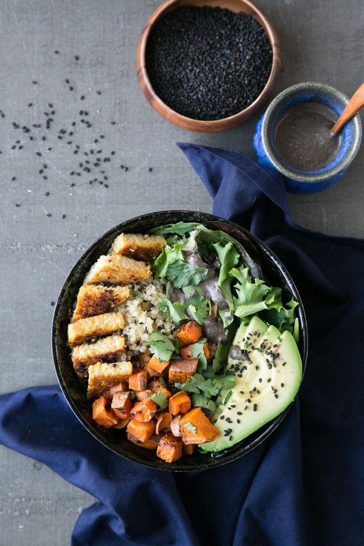 Orange-Ginger Tempeh Bowl + Black Sesame Sauce (Vegan & Gluten-Free) by The Green Life