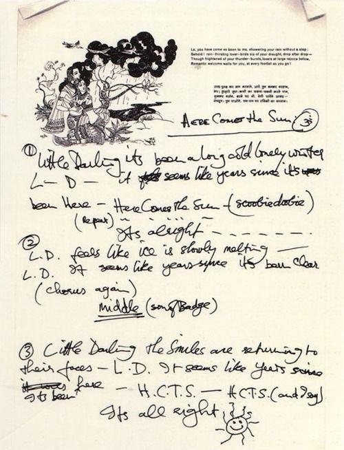 George Harrison's handwritten lyrics to Here Comes the Sun