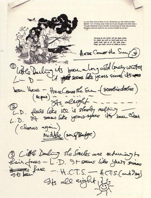 Handwritten lyrics to Here Comes The Sun by George Harrison.