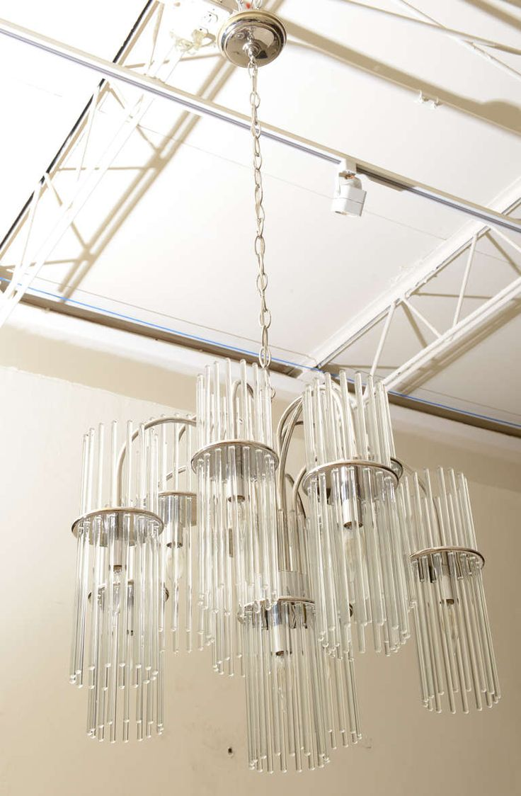 Gaetano Sciolari For Lightolier Glass And Nickel Silver Chandelier