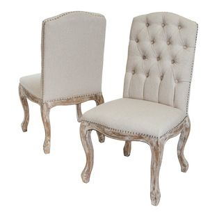 Jolie French Design Weathered Wood Dining Chairs, Set of 2