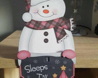 Snowman, pink tartan, countdown, christmas card, decoration, keepsake, sleeps till Santa card and envelope