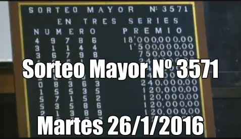 Sorteo Mayor Nº 3571 del martes 26 de Enero 2016. Ver lista de premio: http://wwwelcafedeoscar.blogspot.com/2016/01/resultados-sorteo-mayor.html