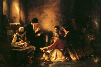 """The famous 19th-century oil-painting by Greek artist, Nikolaos Gyzis. The Secret School depicts the reality of the Orthodox Christian struggle to preserve faith, language and culture during the harsh centuries of Turkish Occupation. During this time, it was not uncommon for young men, escorted by Greek soldiers, to travel by night to Orthodox monasteries and churches where they were taught by clergymen and monastics in underground """"schools"""". (uncutmountainsupply.com)"""