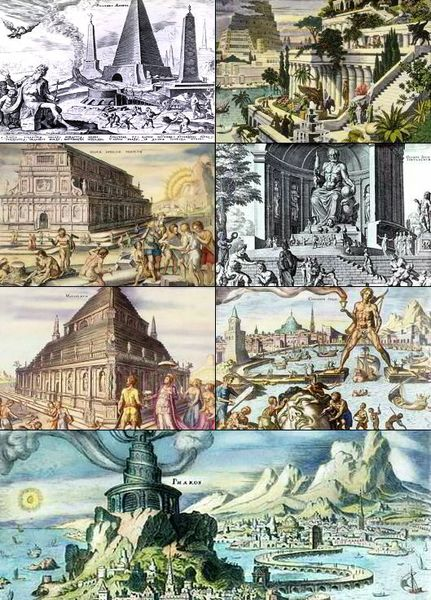 A collage of The Seven Wonders of the (ancient) world, depicted by 16th-century Dutch artist Maarten van Heemskerck.  (from left to right, top to bottom): Great Pyramid of Giza, Hanging Gardens of Babylon, Temple of Artemis at Ephesus, Statue of Zeus at Olympia, Mausoleum at Halicarnassus (also known as the Mausoleum of Mausolus), Colossus of Rhodes, and the Lighthouse of Alexandria