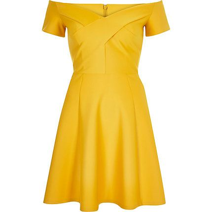 Yellow scuba bardot skater dress £40.00