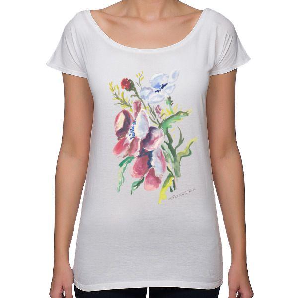 Koszulka damska z nadrukiem. Kwiaty polne, pasuje dla kobiety w każdym wieku :)