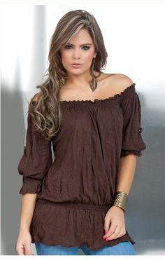 Blusa color café estilo campesina #Bonita #Casual #Femenina