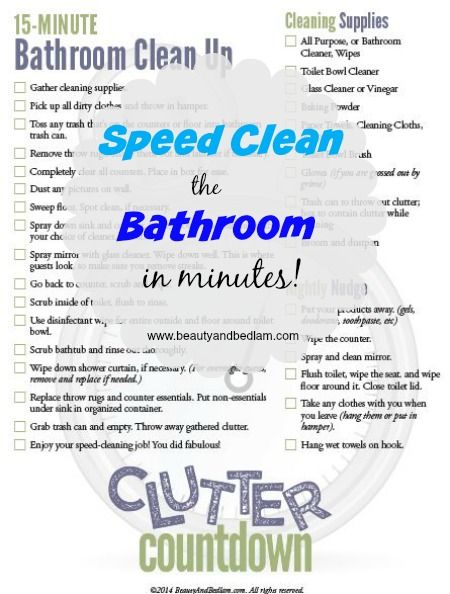 Is it possible to clean the bathroom in 15 minutes? This maps it out with a free printable! We've used this with our kids. Speed Clean the Bathroom in Minutes #kids #cleaning #organize