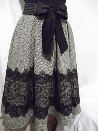 Grey tweed skirt with lace for women by Whitestyle on Etsy, $150.00: