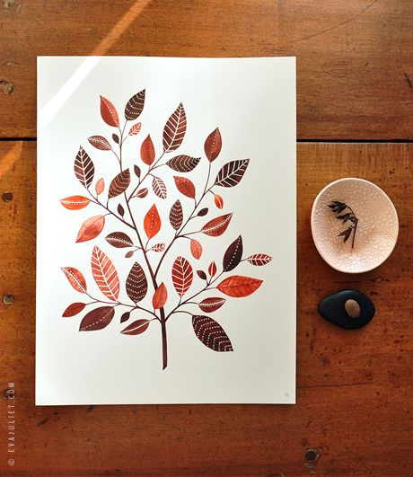 The Copperleaf Tree by Evajuliet (Very pretty watercolor painting utilizing masking fluid.)