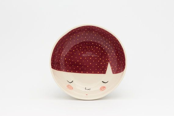 TABLEWARE with CHARACTER in DARK RED color, illustrated with little orange dots.    100% handmade and unique Diameter: 16cm  Height: 5 cm