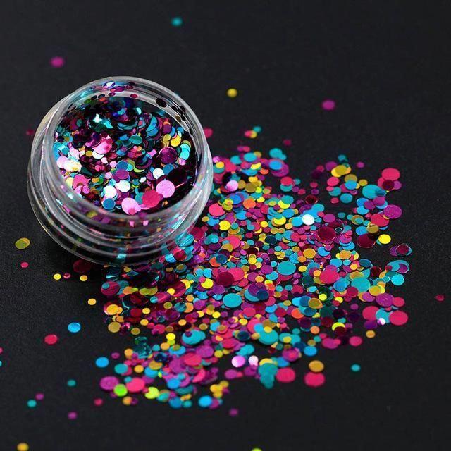 Belle Fille Nail Glitter Runde Form Farben Laser Magic Effect Nail Glitter Silb …