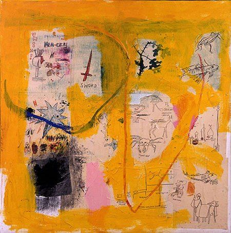 Yellow Basquiat paintings | fireplace chats