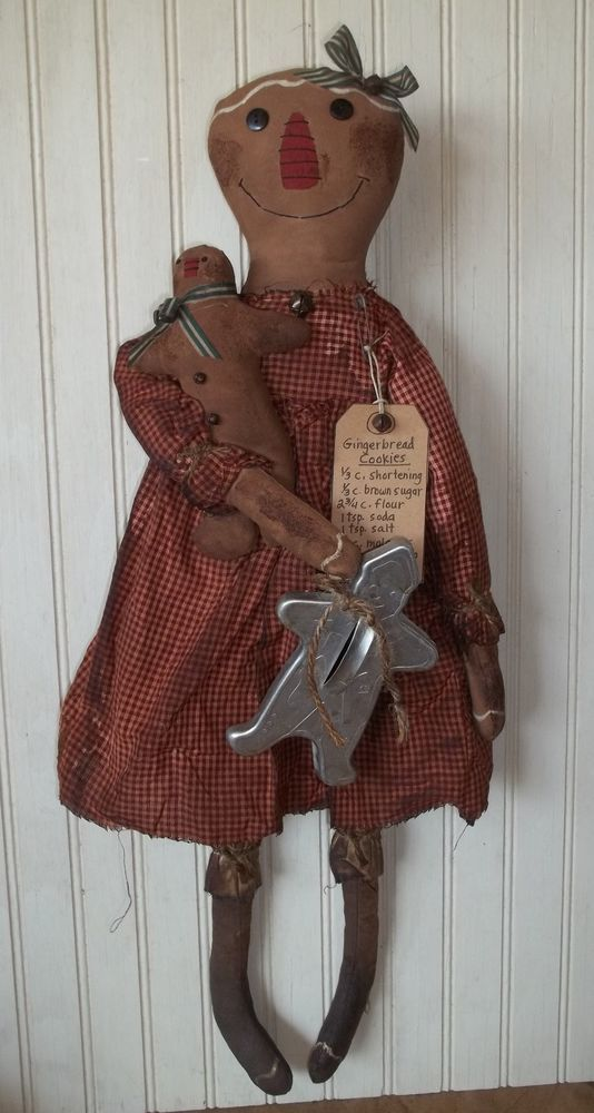 Primitive Grungy Gingerbread Girl Christmas Doll w/ Vintage Cookie Cutter #NaivePrimitive
