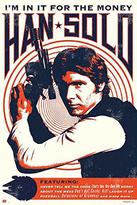 Poster metálico Han Solo retro, 45 x 32 cm. Star Wars  Un poster metálico con la imagen de Han Solo con un marcado estilo retro con la leyenda que dice que esta en la lucha por el dinero, aunque luego sabemos que cambia su forma de pensar.  Por su estructura de metal este poster es resistente y además de fácil montaje.