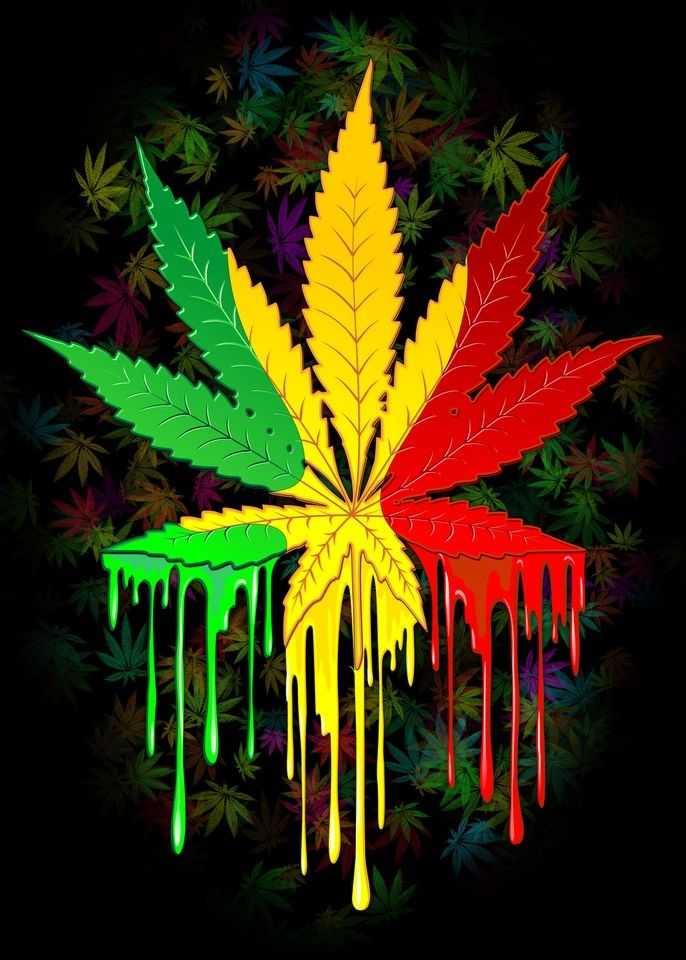 Buy Marijuana Leaf Rasta Colors Dripping Paint By BluedarkArt As A Matted Print Mounted Canvas Framed Or Art Prints