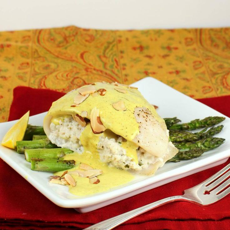 Crab Stuffed Tilapia with Asparagus and Creamy Curry Sauce