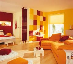 Intermediates- this room is decorated in the intermediate color scheme because it is decorated with only yellow, orange, and red which are all intermediate colors