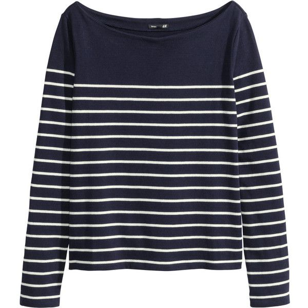 Striped, fine-knit cotton sweater with a boat neck.