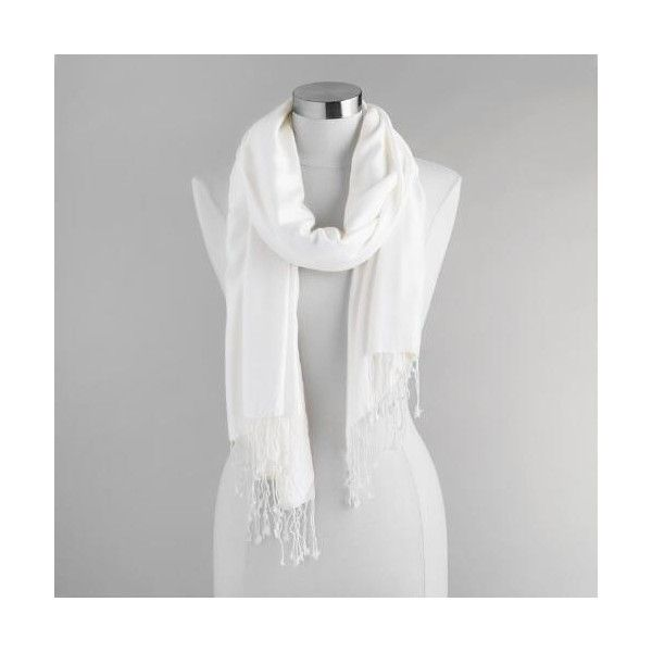 Cost Plus World Market Ivory Pashmina Style Shawl ($9.99) ❤ liked on Polyvore featuring accessories, scarves, white, cost plus world market, white shawl, ivory shawl, white scarves and shawl scarves