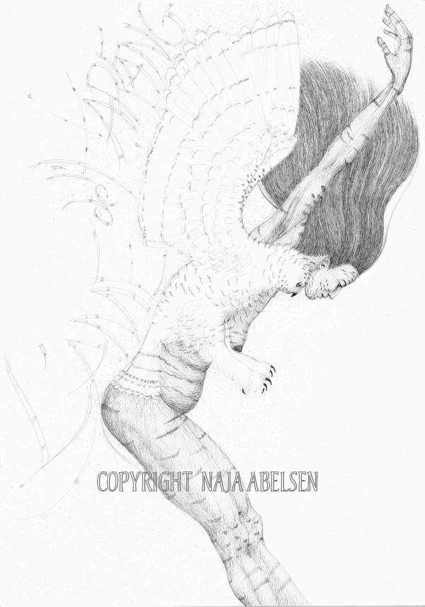 "Title: ""L'Ame de l*Harfang"" (The soul of the snowy owl). This pair, a girl and a snowy owl is found in the Greenlandic inuit mythology. Sold to Ilulissat Art Museum, Greenland. Chinese ink, Ca 30 x 42 cm. By Naja Abelsen. Available as A3-photoprint 400 DKK / 54 Euro."