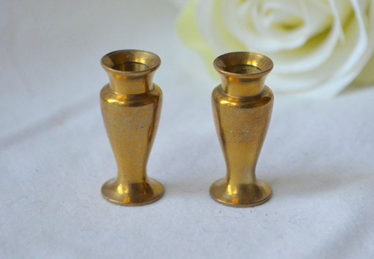 MINIATURE BRASS VASE Set of 2 Classic Solid Brass Vase  Doll House Furnishings by StudioVintage on Etsy