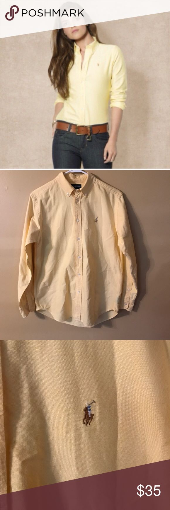 "Ralph Lauren women's oxford button down Women's Ralph Lauren yellow button down oxford shirt in excellent used condition. Size 16 but made smaller in my opinion. I normally wear a 14 or 16 with a 38 C bust but it won't button on me. Bust measures 20"" laying flat while buttoned. Ralph Lauren Tops Button Down Shirts"