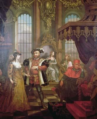 Henry viii and Anne Boleyn, 1533. Interior with king leading Anne Boleyn to the throne. Cardinal Wolsey, seated, looks on. To the rear, Catherine of Aragon (seated) and Lord Percy (standing).