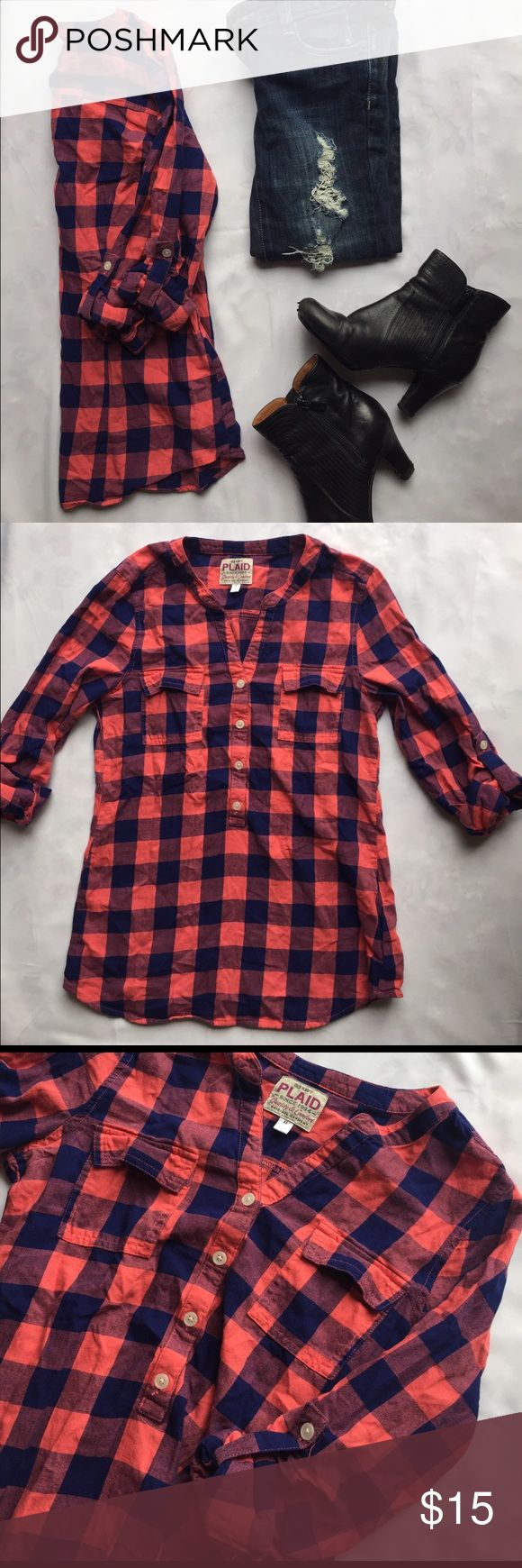 Old Navy pink and blue checkered shirt Diverse checkered half button down shirt that would be perfect with dark skinny jeans and boots for the fall! The material is 100% cotton. No flaws! Old Navy Tops Tees - Long Sleeve