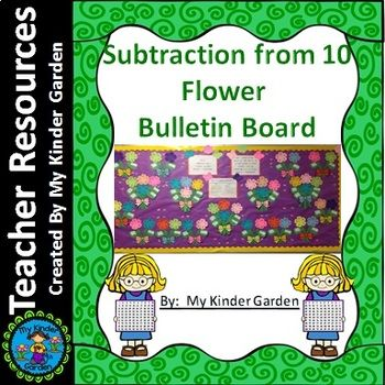 Flower Subtraction 0- 10 Spring Math Bulletin Board or Achievement Board is a great spring flower bulletin board for subtraction 0- 10. This board can be used alone or combined with the addition set in order to match the kindergarten common core standard (K.OA.2).
