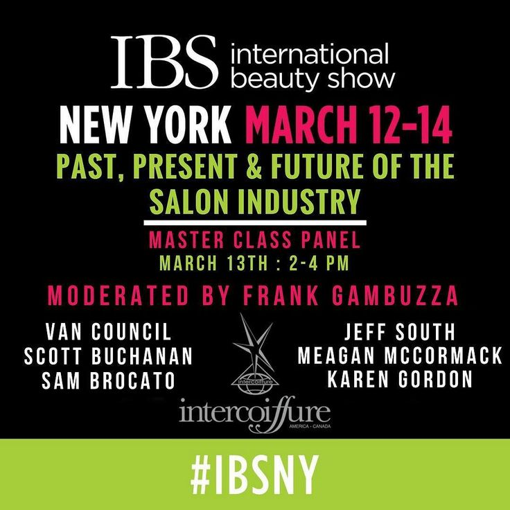 "Don't miss out on the Master Class Panel: ""Past Present & Future of the Salon Industry"" moderated by @intercoiffureac President & Visage's own @FrankGambuzza at the International Beauty Shows 100th Anniversary in New York!!! Panelists are listed above. Get your tickets today! Link in bio.  #ibsny #ibsturns100 #visagemoments #icamoments"