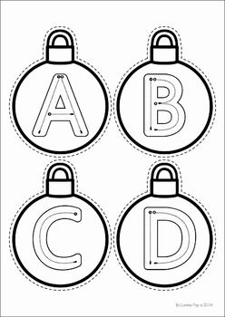 Christmas Preschool No Prep Worksheets and Activities. Christmas ornament letter tracing practice.