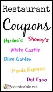 Print restaurant coupons for Olive Garden, Outback Steakhouse, Del Taco, White Castle, Smokey Bones, Jamba Juice and more!!