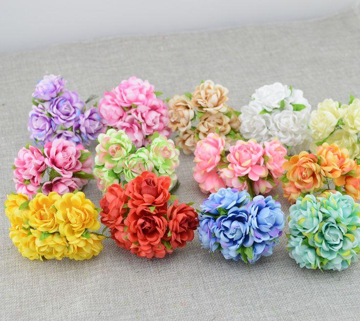 6 unids barato Artificial flores rosas flor de seda de la guirnalda de BRICOLAJE material de la muñeca de la novia Headwear de la flor de La Boda decoración de flores